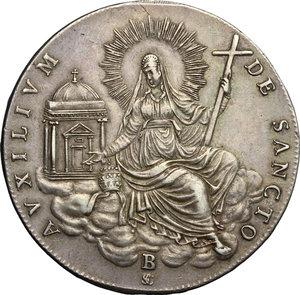 reverse: Bologna.  Sede Vacante (1829), Cardinal Camerlengo Francesco Galeffi. . Scudo