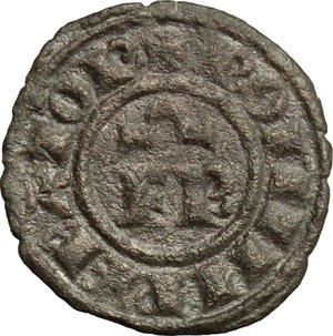 obverse: Brindisi.  Federico II (1197-1250).. Mezzo denaro con F R