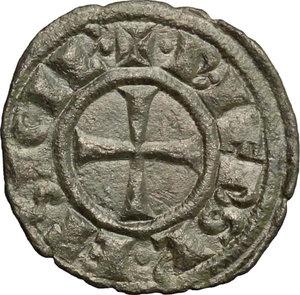 reverse: Brindisi.  Federico II (1197-1250).. Mezzo denaro con F R