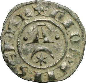 obverse: Brindisi o Messina.  Federico II (1197-1250).. Denaro, 1242