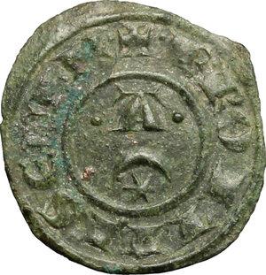 obverse: Brindisi o Messina.  Federico II (1197-1250).. Mezzo denaro, 1242