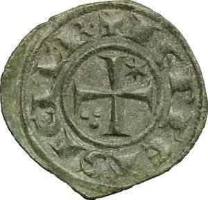 reverse: Brindisi o Messina.  Federico II (1197-1250).. Mezzo denaro, 1242