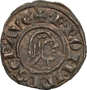 obverse: Brindisi o Messina.  Federico II (1197-1250). Denaro con testa e aquila, coniato nel 1243
