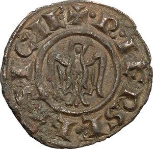 reverse: Brindisi o Messina.  Federico II (1197-1250). Denaro con testa e aquila, coniato nel 1243