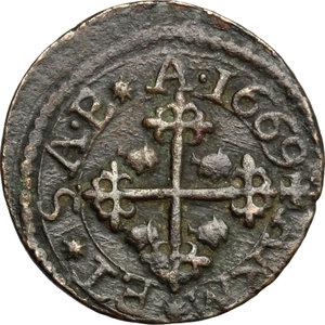reverse: Cagliari.  Carlo II di Spagna (1665-1700). Cagliarese 1669