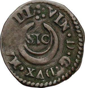 reverse: Casale.  Vincenzo I Gonzaga (1587-1612). Quattrino
