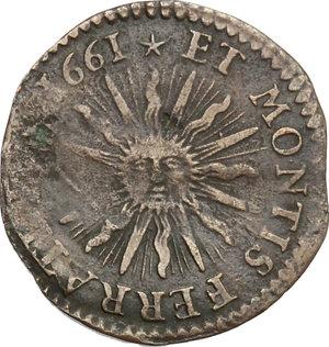 reverse: Casale.  Carlo II Gonzaga Nevers (1647-1665). Soldo 1661
