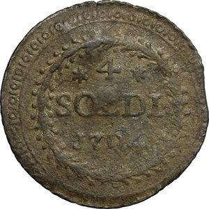 reverse: Corte.  Pasquale Paoli, Generale (1762-1768). 4 soldi 1764