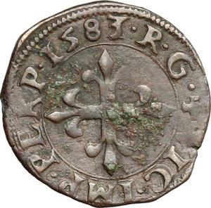 reverse: Desana.  Delfino Tizzone (1583-1598). Liard 1583