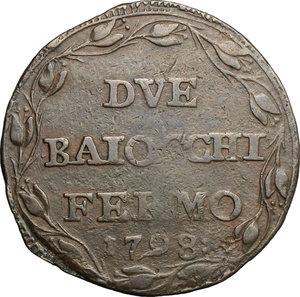 reverse: Fermo.  Repubblica Romana (1798-1799).. Due baiocchi A. I, 1798