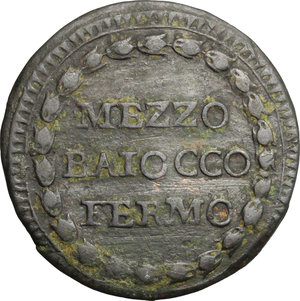 obverse: Fermo.  Repubblica Romana (1798-1799). Mezzo baiocco A. I