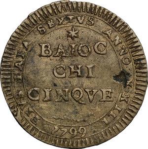 reverse: Fermo.  Pio VI (1775-1799). Madonnina da 5 baiocchi 1799