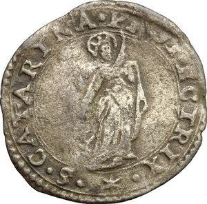 Guastalla.  Ferrante III Gonzaga (1632-1678). Da 5 soldi con Santa Caterina