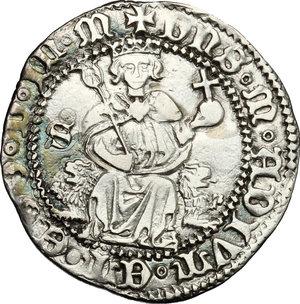 Napoli.  Alfonso I d Aragona (1442-1458). Carlino con sigla S alla sinistra del Re (Francesco Senier maestro di zecca (1450-1455)
