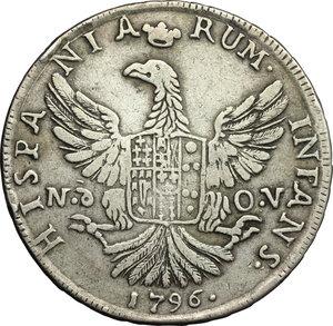 Palermo.  Ferdinando III (1759-1816). 12 tarì 1796 sigle Nd OV, Nicola d Orgemont Vigevi zecchiere
