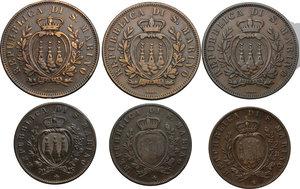 obverse: San Marino.  Prima Monetazione (1864-1906).. Lotto di 6 monete: 10 centesimi 1875, 1893, 1894 e 5 centesimi 1864, 1869 e 1894
