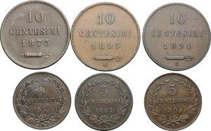 reverse: San Marino.  Prima Monetazione (1864-1906).. Lotto di 6 monete: 10 centesimi 1875, 1893, 1894 e 5 centesimi 1864, 1869 e 1894