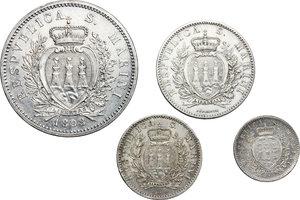 obverse: San Marino.  Prima Monetazione (1864-1906).. Serie 1898: 5 lire (BB+), 2 lire, lira e 50 centesimi