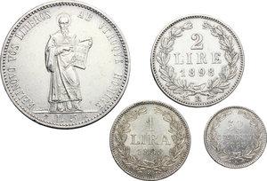 reverse: San Marino.  Prima Monetazione (1864-1906).. Serie 1898: 5 lire (BB+), 2 lire, lira e 50 centesimi