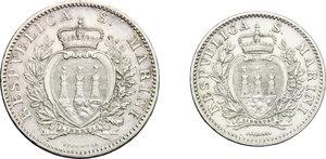 obverse: San Marino.  Prima Monetazione (1864-1906).. Serie 1906: 2 lire e lira