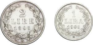 reverse: San Marino.  Prima Monetazione (1864-1906).. Serie 1906: 2 lire e lira