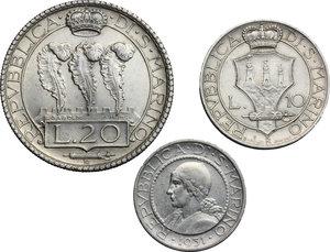 obverse: San Marino.  Seconda monetazione (1931-1938).. Serie 1931: 20 lire (qSPL) , 10 lire e 5 lire