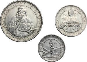 reverse: San Marino.  Seconda monetazione (1931-1938).. Serie 1931: 20 lire (qSPL) , 10 lire e 5 lire