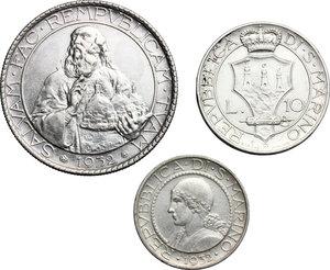 obverse: San Marino.  Seconda monetazione (1931-1938).. Serie 1932: 20 lire (qSPL/SPL) , 10 lire e 5 lire