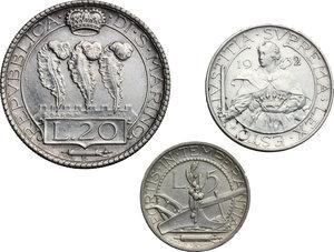 reverse: San Marino.  Seconda monetazione (1931-1938).. Serie 1932: 20 lire (qSPL/SPL) , 10 lire e 5 lire
