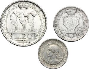 obverse: San Marino.  Seconda monetazione (1931-1938).. Serie 1933: 20 lire (SPL) , 10 lire e 5 lire