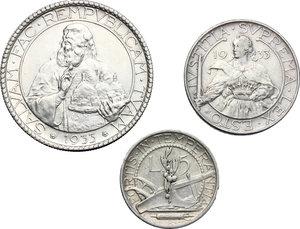 reverse: San Marino.  Seconda monetazione (1931-1938).. Serie 1933: 20 lire (SPL) , 10 lire e 5 lire