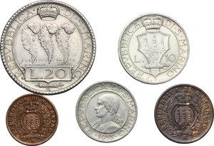 obverse: San Marino.  Seconda monetazione (1931-1938).. Serie 1935: 20 lire (BB), 10 lire, 5 lire, 10 centesimi e 5 centesimi