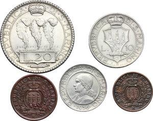 obverse: San Marino.  Seconda monetazione (1931-1938).. Serie 1936: 20 lire (qSPL/SPL) , 10 lire, 5 lire, 10 centesimi e 5 centesimi