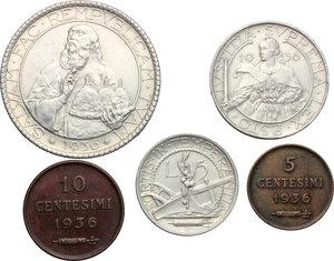 reverse: San Marino.  Seconda monetazione (1931-1938).. Serie 1936: 20 lire (qSPL/SPL) , 10 lire, 5 lire, 10 centesimi e 5 centesimi