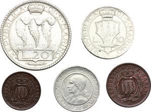obverse: San Marino.  Seconda monetazione (1931-1938).. Serie 1937: 20 lire (SPL+) , 10 lire, 5 lire, 10 centesimi e 5 centesimi