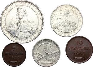 San Marino.  Seconda monetazione (1931-1938).. Serie 1937: 20 lire (SPL+) , 10 lire, 5 lire, 10 centesimi e 5 centesimi