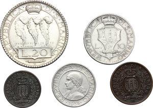 obverse: San Marino.  Seconda monetazione (1931-1938).. Serie 1938: 20 lire (qSPL), 10 lire, 5 lire, 10 centesimi e 5 centesimi