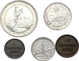 San Marino.  Seconda monetazione (1931-1938).. Serie 1938: 20 lire (qSPL), 10 lire, 5 lire, 10 centesimi e 5 centesimi