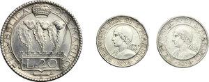 obverse: San Marino.  Seconda monetazione (1931-1938).. Lotto di 3 monete: 20 lire 1935 e 5 lire 1936 e 1938
