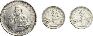 reverse: San Marino.  Seconda monetazione (1931-1938).. Lotto di 3 monete: 20 lire 1935 e 5 lire 1936 e 1938
