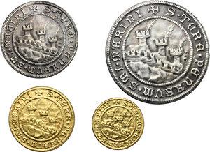 reverse: San Marino. Emissione ufficiale della zecca 1972. L astuccio contiene quattro medaglie (due in oro e due in argento) raffiguranti la veduta dei tre castelli al diritto e, al rovescio, Santo Marino, protettore della città