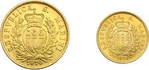 obverse: San Marino. Emissione in cofanetto 1974 comprendente 2 scudi e 1 scudo in oro