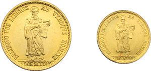 reverse: San Marino. Emissione in cofanetto 1974 comprendente 2 scudi e 1 scudo in oro