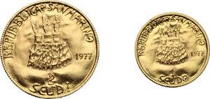 obverse: San Marino. Lotto di due monete: 2 e 1 scudo 1977