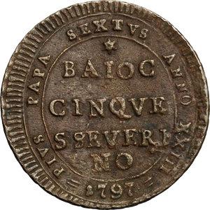 reverse: San Severino.  Pio VI (1775-1799).. Madonnina da 5 baiocchi 1797