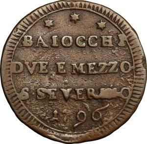 reverse: San Severino.  Pio VI (1775-1799).. Sampietrino da 2 e 1/2 baiocchi 1796