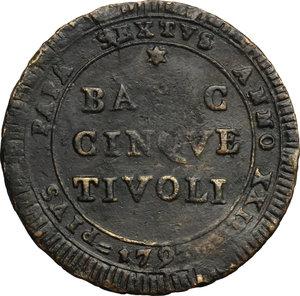 reverse: Tivoli.  Pio VI (1775-1799).. Madonnina da 5 baiocchi 1797