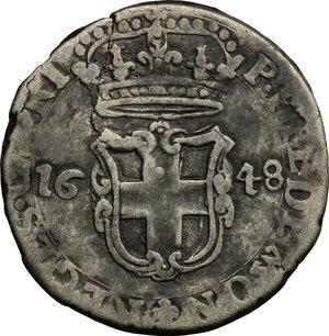 obverse: Carlo Emanuele II sotto la reggenza della madre (1639-1648). 5 soldi 1648