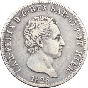 obverse: Carlo Felice (1821-1831). 5 lire 1826 Torino