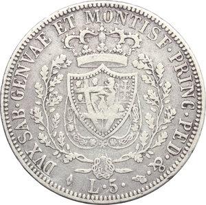 reverse: Carlo Felice (1821-1831). 5 lire 1826 Torino